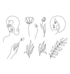 beauty elements set in minimal line style vector image
