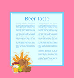 beer taste poster with barrels food and drink vector image