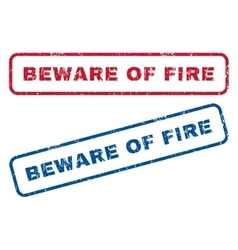 Beware Of Fire Rubber Stamps vector