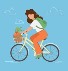 bike garden flat style woman shopping illus vector image