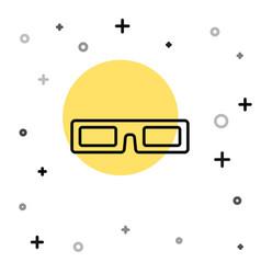 black line cinema glasses icon isolated on white vector image