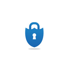bluepadlock shield logo design template vector image