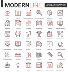 business analytics flat thin red black line icons vector image