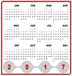 Business frame template of 2017 calendar vector