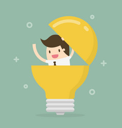businessman in a light bulb vector image