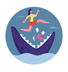 businesswoman jumping over shark with open jaws in vector image