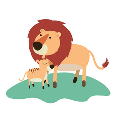 cartoon lion and cub over grass in colorful vector image