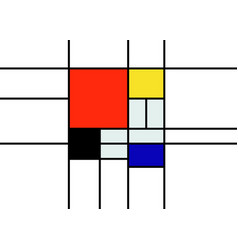 checkered piet mondrian style emulation template vector image