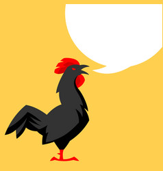 chicken emblem stylized black vector image