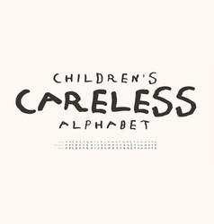 children careless alphabet hand drawn doodle vector image