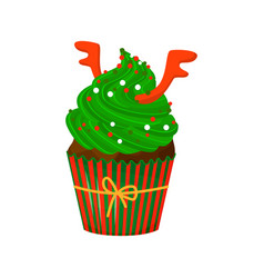 christmas and new year cupcake with deer horns vector image