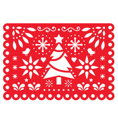 christmas papel picado design mexican xmas vector image
