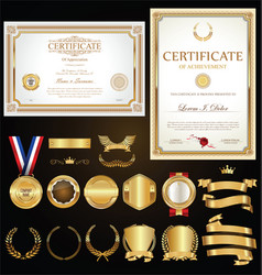 collection certificate badges labels shields vector image