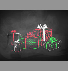 Color chalk sketches of gift boxes vector