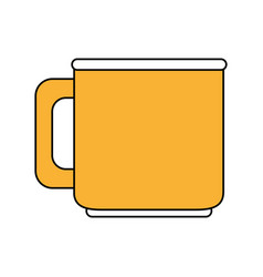 Color silhouette image porcelain mug of crockery vector