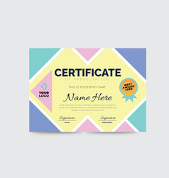 Colorful corporate business certificate template vector
