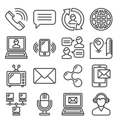 Contact icons set on white background line style vector