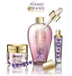 Cosmetics realistic lavender products mock vector