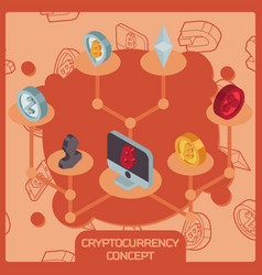 cryptocurrency color isometric concept vector image