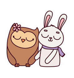 cute animals rabbit with scarf and owl with flower vector image