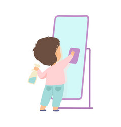 Cute little boy cleaning mirror by rag adorable vector