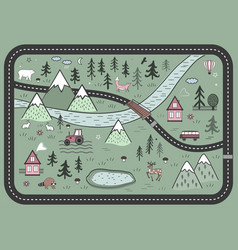 cute road play mat in scandinavian style vector image