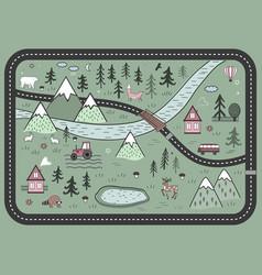 Cute road play mat in scandinavian vector