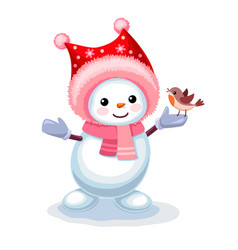Cute snowman with a small bird on his hand vector