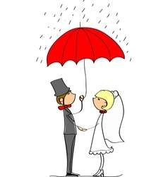 Cute Wedding Couple Standing Under an Umbrella vector image