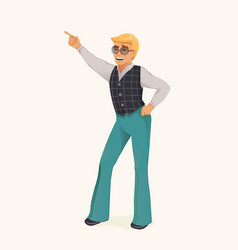Dancing retro man vector