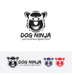 Dog ninja logo design vector