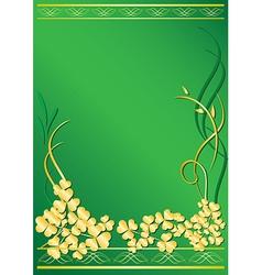 Elegant green frame with flora vector