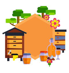 everything for beekeeping and apiary cartoon vector image