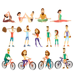 fitness cartoon characters icons set vector image