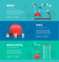 Fitness training and gym club banners set vector