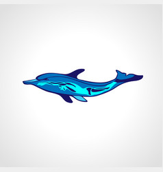 Free diver and dolphin freediving color logo vector