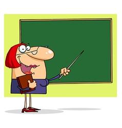 Friendly Female Teacher Pointing To A Chalkboard vector image