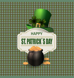 green hat two leaf clover pot with gold coins vector image