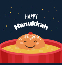 Greeting card with funny hanukkah traditional vector