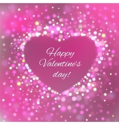 Happy Valentine Day Card with bokeh lights vector