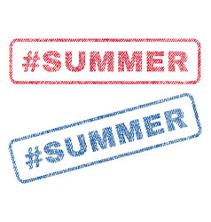 Hashtag summer textile stamps vector