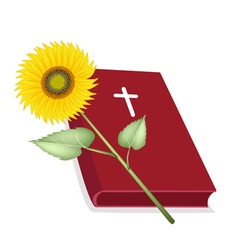 Holy Bible with Wooden Cross and Sunflower vector image