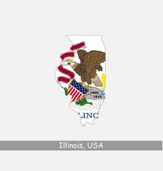 illinois usa map flag vector image