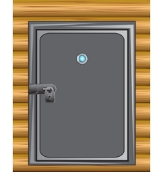 Iron door in wall vector image
