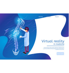 Isometric banner virtual reality in medicine 3 vector