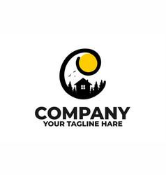 Latter c camp house logo vector