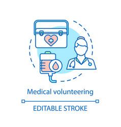 Medical volunteering concept icon vector