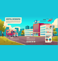 medicine infographic background with hospital vector image