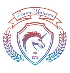 medieval coat of arms with unicorn vector image