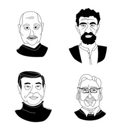 mens head portraits grunge line drawing set vector image